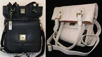 DKNY Soft Leather Turnlock Bag Purse Tote Sac Ivory Black New Authentic