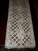 CREME TABLE RUNNER LACE 55 X 15 ABSTRACT FLOWER CTRF154