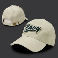 NAVY EMBROIDERED VINTAGE STYLE MILITARY HAT CAP