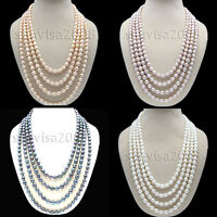 "Genuine 8-​9mm White pink oval Cultured Pearl length freshwater Necklace 70"" 80"""