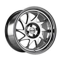 15x8 Whistler KR7 4x100mm +0 Chrome Wheels Fits Civic Ef Ek Eg Miata Mr2 E30 Fox