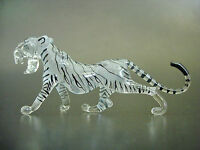 Glass WHITE TIGER, Stripy Wild Cat, Beautifully Painted Coloured Glass Ornament