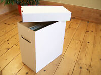 "12"" VINYL RECORD STORAGE BOXES-x 3 DOUBLE WALL CARDBOARD WHITE WITH LIDS !!!!"