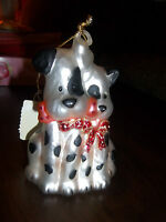 Dalmation Dogs Hanging Glass Christmas Ornament