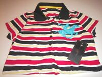 NWT Womens $38 Beverly Hills Polo Club Red/Black Embroidered Polo Shirt Sz Large