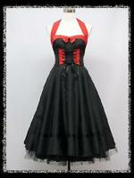 dress190 BLACK & RED 50s HALTER CORSET ROCKABILLY SWING EVENING PROM PARTY DRESS