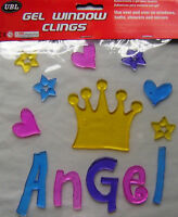 NEW DECORATIVE ANGEL CROWN GEL WINDOW CLINGS STICKS TO BATHS SHOWERS MIRRORS