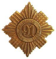 VICTORIAN 91ST ARGYLL & SUTHERLAND GLENGARRY BADGE