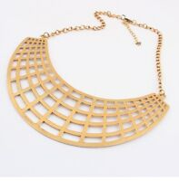 European Vintage Style Gold Hollow Out Crescent Bib Collar Necklace