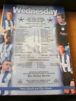12/11/2003 Colour Teamsheet: Sheffield Wednesday v Barn