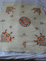 Gorgeous Vintage Hand-Embroidered Tulle Tablecloth