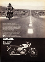 "1969 Yamaha 350 Grand Prix R-3 Motorcycle photo ""Discover Far Away"" promo ad"