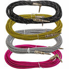12 ft foot mixed color tweed right angle to straight 1/4 guitar instrument cable