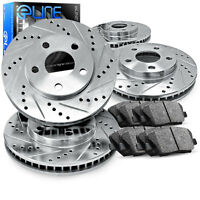 """Brake Rotors FRONT+REAR KIT ELINE """"DRILLED AND SLOTTED"""" & CERAMIC PADS RA32029"""
