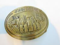 Belt Buckle Vintage John Deere 1981 Deere & Company, Brass Tractor Emblem