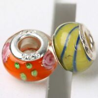 MIXED LOT LAMPWORK GLASS LOOSE EUROPEAN  BEADS FOR BRACELET 10PCS
