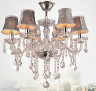 QQ8006 D550mm * H780mm Parlor Bedroom 6 Lights Fabric Crystal Chandelier