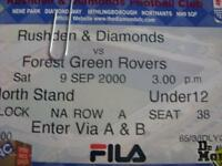 09/09/2000 Ticket: Rushden And Diamonds v Forest Green Rovers [Last Non League]