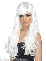 Halloween Evil White Witch Long Wavy White Wig With Fringe Fancy Dress