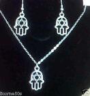 parure collier chaine 43cm argenté pendentif main fatma + boucle d oreille n°2