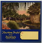 SUNSHINE FRUITS Vintage Miami Florida Citrus Crate Label, **AN ORIGINAL LABEL**