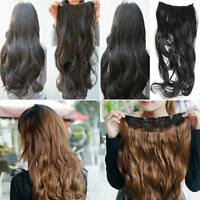 HAIR EXTENSIONS LONG CURVY WAVY CLIP  PONY TAIL IN FASHION PIECE STRAIGHT