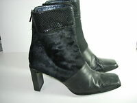WOMENS BLACK LEATHER FUR STUART WEITZMAN CALF HIGH BOOTS HEELS SHOES SIZE 8.5 M