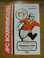14/08/1976 Bournemouth v Torquay United [Football League Cup] (Team Changes). It