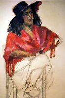 HUILE FEMME AU CHAPEAU original mi XXè signée G. SIMON 60x40cm