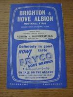 07/02/1959 Brighton And Hove Albion v Huddersfield Town  (Heavy Creased, Folded)