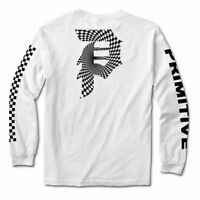 Primitive Skate Men's Dirty P Wash Reflective Long Sleeve T Shirt White Tee Clot