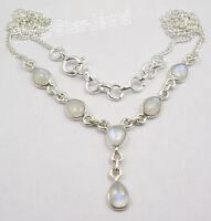 925 Sterling Silver DROP RAINBOW MOONSTONE Beautiful Necklace INDIAN JEWELLERS