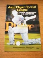 02/09/1984 Cricket Programme: Warwickshire v Glamorgan (Score/ers Noted). No obv