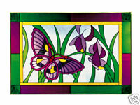 20x14 Stained Art Glass BUTTERFLY Flowers Floral Suncatcher Panel