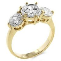 18K GOLD EP 4.1CT DIAMOND SIMULATED ENGAGEMENT RING size 10 or T 1/2