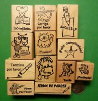 Teacher Spanish-Only Rubber Stamp Assortment of 14, Wood Mounted