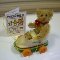 """3.5"""" Artist Teddy in shoe ROOSEVELT BEAR CO Miniature mohair OOAK Cathy Peterson"""