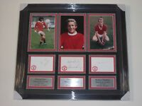 Signed George Best Denis Law Bobby Charlton Manchester United autographs