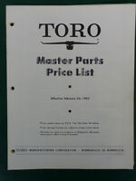 1963 TORO LAWN MOWERS AND TRACTORS DEALER MASTER PARTS PRICE LIST