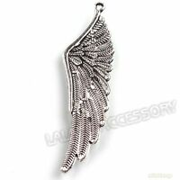 30pcs New Arrival Charms Wing Shape Alloy Plated Silver Pendants Findings Lots C