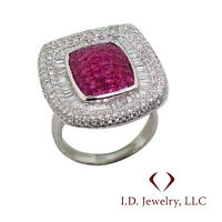 4.40 CTW RUBY & DIAMOND RING F VS 18K