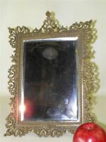 Antique Bronze Victorian Ornate Rococo Beveled Table Mirror Frame Easel Back