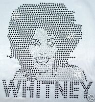 Whitney Houston iron-on HOTFIX RHINESTONE CRYSTAL BEAD GEM BLING TSHIRT TRANSFER