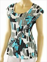 Women's Colorful Abstract Art Print Satin PLEATED Sleeveless Blouse Top S/M/L