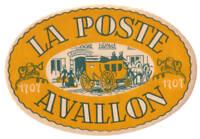 AVALLON FRANCE HOTEL LA POSTE VINTAGE LUGGAGE LABEL