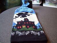 Halloween  Witch Boom Haunted House Bats Stars Moon  Crochet Top Kitchen Towel