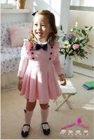 Girls Kids Toddlers Dress Tutu Long Sleeve Clothing Cotton Bow Costume 2-6 Yrs