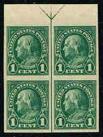 #575 TOP ARROW BLOCK 1923 1c IMPERF FLAT PLATE ISSUE MINT-OG/NH