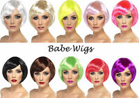 Ladies Babe Wigs Short Straight Fancy Dress Costume Wigs Brown Blonde Neon