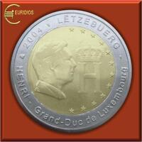 """2 Euro Gedenkmünze Luxemburg 2004 """" Monogramm """", bankfrisch"""